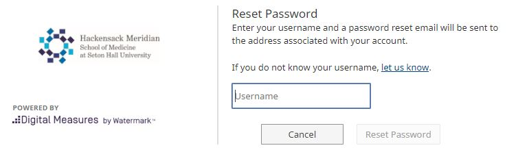 Resetting password for digital measures.